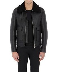 Burberry Xo Barneys New York Shearling Aviator Jacket Black