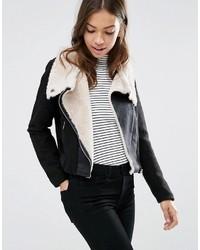 Vero Moda Calm Faux Shearling Biker Jacket