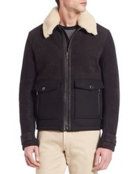 Salvatore Ferragamo Contrast Collar Shearling Jacket
