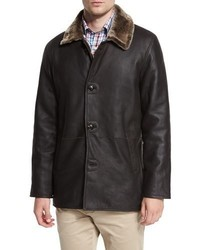 Peter Millar Cortina Leather Shearling Fur Coat Espresso