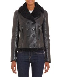 Barneys New York Double Breasted Lamb Shearling Jacket