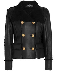 Balmain Double Breasted Shearling Biker Jacket Black