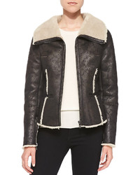 Velvet Faux Fur Lined Faux Suede Aviator Jacket Black