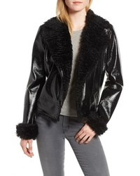 Kensie Faux Patent Leather With Faux Moto Jacket