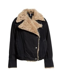 Free People Faux Shearling Denim Bomber Jacket