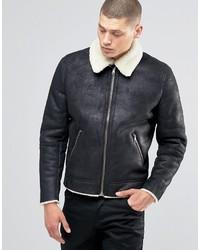 Asos Faux Shearling Jacket In Black