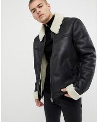 ASOS DESIGN Faux Shearling Jacket In Black