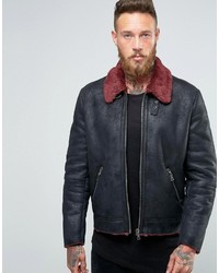 Asos Faux Shearling Jacket With Contrast Collar In Black