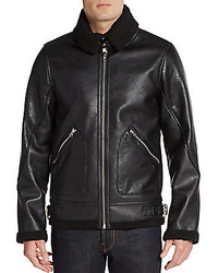 Members Only Faux Shearling Trimmed Fighter Pilot Jacket