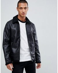 Tom Tailor Faux Suede Biker Jacket With Shearling