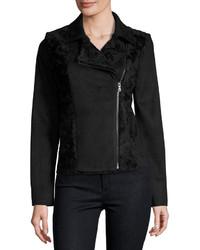 T Tahari Faux Suede Faux Fur Moto Jacket Black