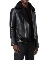 AllSaints Felix Genuine Shearling Leather Jacket