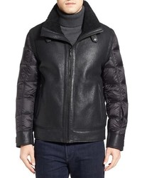 Tumi Genuine Shearling Nylon Quilted Flight Jacket