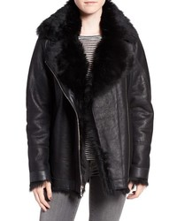 Hiso Tattler Genuine Toscana Shearling Oversize Bomber Jacket