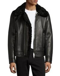 Burberry Lambskin Shearling Aviator Jacket Black