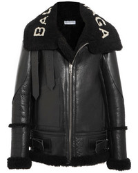 Le bombardier oversized shearling jacket black medium 3761753