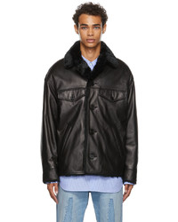 Marni Leather Faux Fur Button Jacket