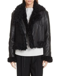 Vince Leather Genuine Shearling Moto Jacket