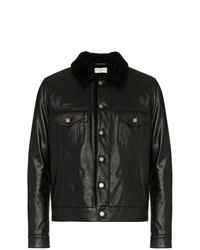 Saint Laurent Leather Jacket With Shearling Collar