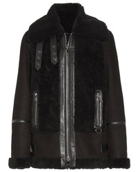 Karl Lagerfeld Leather Trimmed Shearling Biker Jacket Black