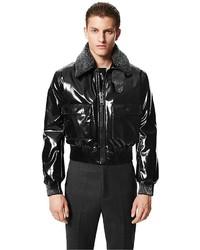 Calvin Klein Lightweight Vinyl Flight Jacket Removable Shearling Collar