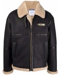 Moschino Logo Plaque Shearling Jacket