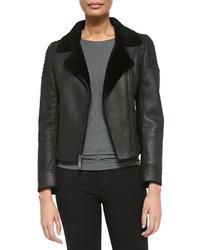 Elie Tahari M Leather Zip Jacket W Shearling Fur Lapels
