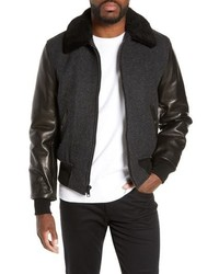 Schott NYC Mixed Media B 15 Flight Jacket With Genuine Shearling Collar