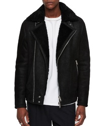 AllSaints Myres Regular Fit Leather Jacket With Genuine Shearling