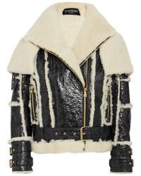Oversized cracked leather and shearling jacket black medium 5083239