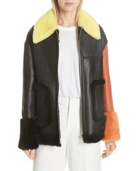 ANNE VEST Pea Genuine Shearling Jacket