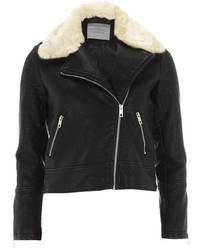 Dorothy Perkins Petite Faux Fur Collar Biker Jacket