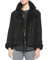 Rag and Bone Rag Bone Shearling Fur Asymmetric Zip Jacket
