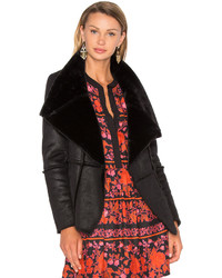 Cupcakes And Cashmere Rivina Jacket With Faux Fur In Black