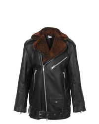 Cmmn Swdn Shearling Lapel Biker Jacket