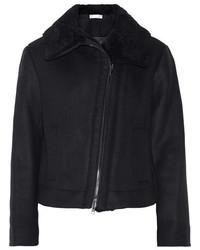 Vince Shearling Trimmed Wool Blend Jacket Black