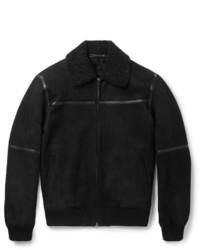 Ermenegildo Zegna Slim Fit Leather Trimmed Shearling Jacket