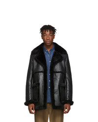 Schott Ssense Black Shearling Jacket
