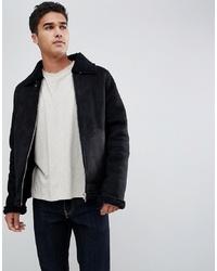 Barney's Originals Suedette Borg Collar Jacket