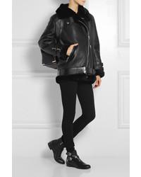 Black shearling motorcycle jacket