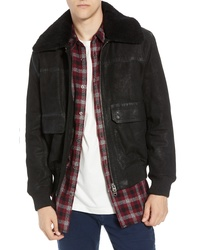 French Connection Washed Sheepskin Leather Jacket With Faux