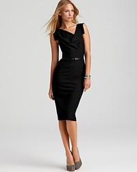 Black Halo Dress Jackie O Belted Sheath In Stretch Gabardine