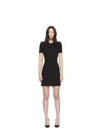 Alexander McQueen Black Leaf Crepe Midi Pencil Dress
