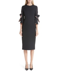 Roksanda Bow Sleeve Crepe Sheath Dress