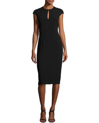 Ralph Lauren Collection Keyhole Cap Sleeve Sheath Dress Black