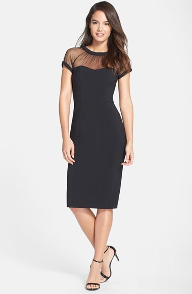 15511c57 Maggy London Illusion Yoke Crepe Sheath Dress, $148 | Nordstrom ...