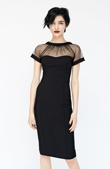 66697d27406 ... Maggy London Illusion Yoke Crepe Sheath Dress ...