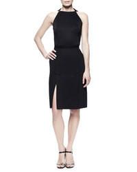 Lanvin Kick Pleat Sheath Dress Black
