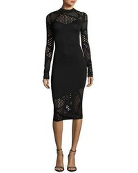 Milly Long Sleeve Fractured Pointelle Sheath Dress