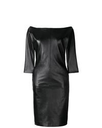 Dsquared2 Off Shoulder Leather Dress